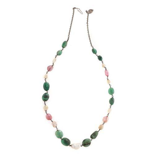 Vintage gem-set and white metal necklace