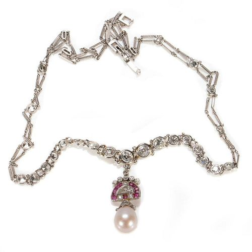 Vintage diamond, ruby, and cultured pearl necklace