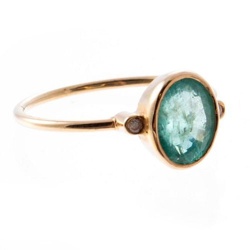 Emerald, diamond and 18k gold ring