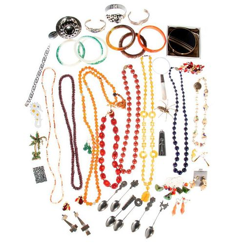 Collection of beaded, costume jewelry & accessories