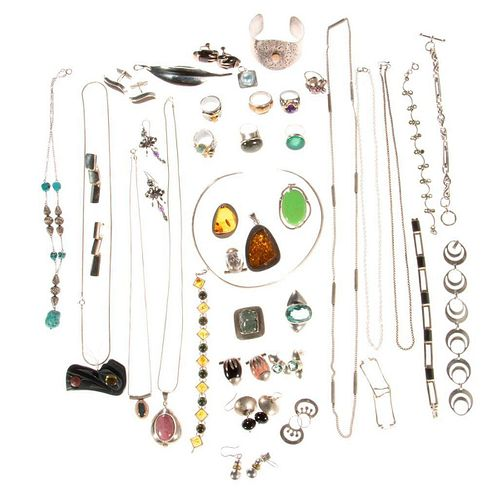 Collection of stone-set and silver jewelry