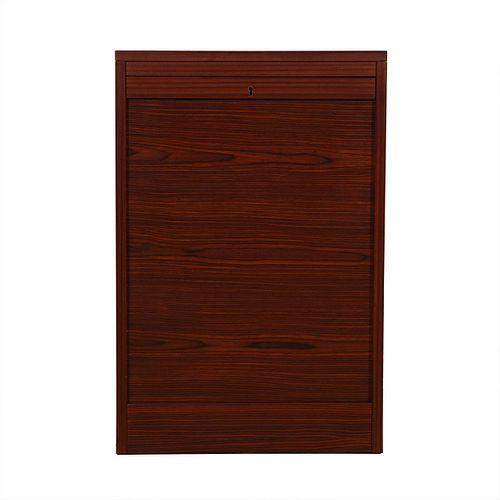 Petite Danish Modern Rosewood Locking Tambour Door Filing Cabinet
