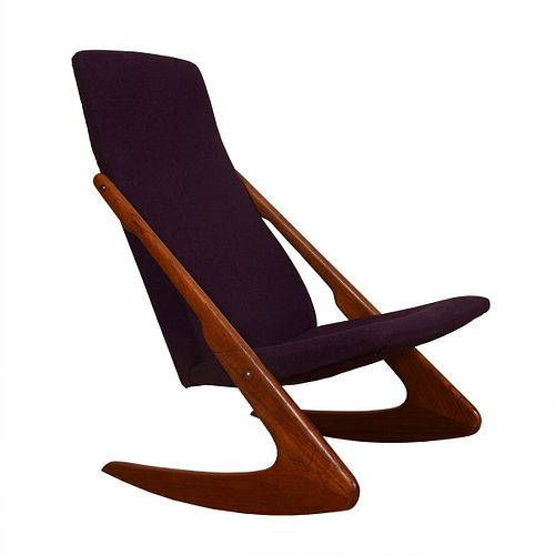 Danish Modern Teak & Purple Rocker