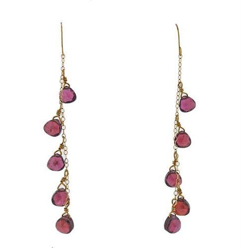 14K Gold Garnet Dangle Drop Earrings