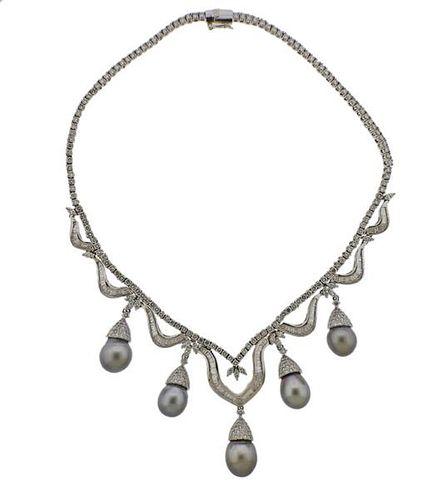 18K Gold Diamond 22.50ctw Tahitian Pearl Necklace