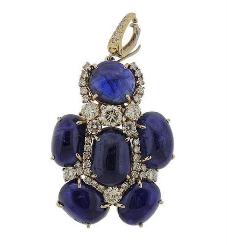 Andrew Clunn 18k Gold Sapphire Diamond Brooch Pendant