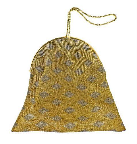 Art Deco 18k Gold Platinum Diamond Mesh Purse Bag