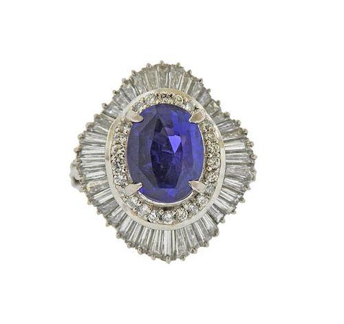 GIA No Heat Sapphire 3.90ct Platinum Diamond Ring