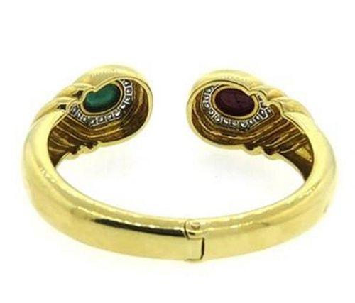 David Webb Ruby and Emerald 1.20ctw Diamond 18k Gold Platinum Bracelet