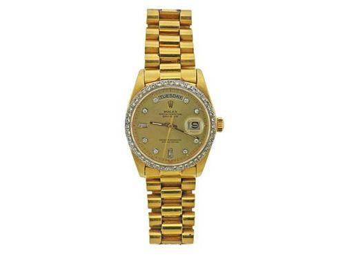 Rolex President Day Date Diamond 18k Gold Watch ref.