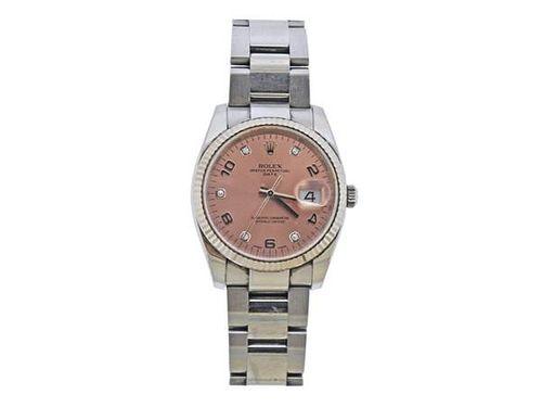 Rolex Oyster Date Pink Dial Diamond Steel Watch ref. 115234