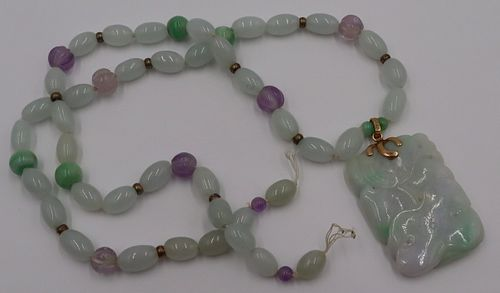 JEWELRY. 14kt Gold, Jade and Amethyst Necklace.
