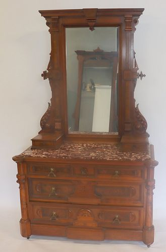 2 Victorian Herter Style Mirror Back Consoles .