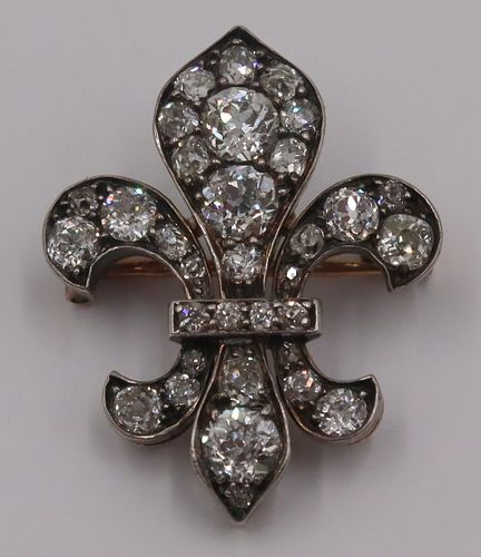 JEWELRY. French 18kt Gold and Diamond Fleur-de-Lis