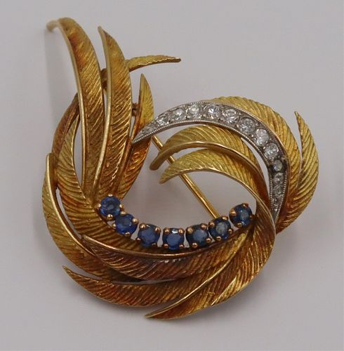 JEWELRY. French 18kt Gold, Diamond and Sapphire
