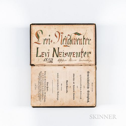 """""""Levi Neiswenter, Upper Bern Township"""" Inscribed German-text Bible"""