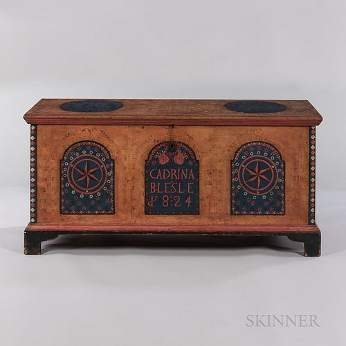 "Paint-decorated Dower Chest ""Cadrina Blesle/1824,"""
