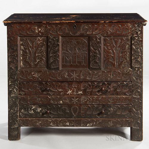 """Carved Oak and Pine """"MH"""" Hadley Chest"""