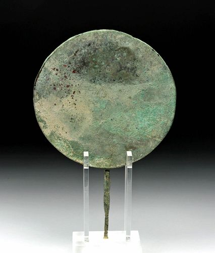 Roman Bronze Mirror with Decorated Handle
