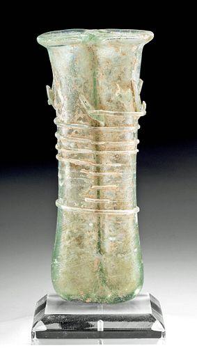 Roman Glass Double Unguentarium w/ Trailing & Rigaree