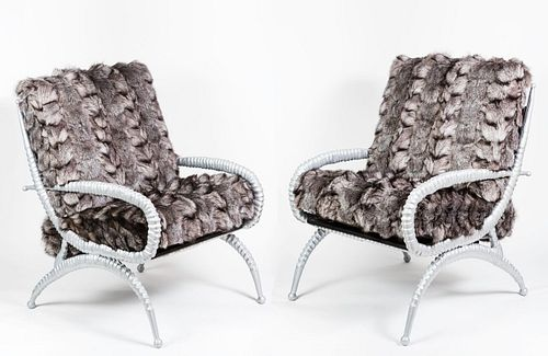Pair of Rare Sable Horn Chairs by Arthur Court