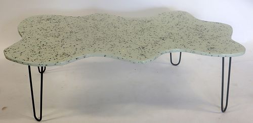 Midcentury Style Wood & Resin White  Coffee Table