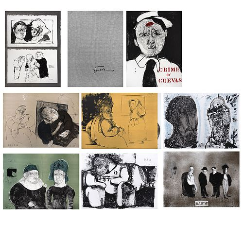 "JOSÉ LUIS CUEVAS, Crime by Cuevas, 1968, Signed and dated 68, Lithographies 85 / 100,29.9 x 22""(76 x 56 cm each), 32.2 x 23.2 x 1.2""(82 x 59 x 3.2cm)"