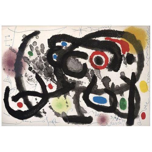 """JOAN MIRÓ, From the binder Derrière le Miroir-Joan Miró: Céramique Murale Pour Harvard,1961,Signed,Intervened lithography,14.5 x 21.6"""" (37 x 55 cm)"""
