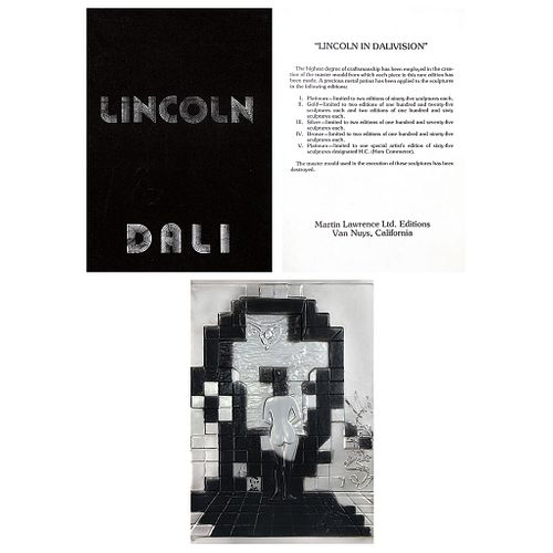 "SALVADOR DALÍ, Lincoln in Dalivision, 1979, Signed, Platinum plaque with relief HC / 15 / 65, 27.5 x 19.6"" (70 x 50 cm)"