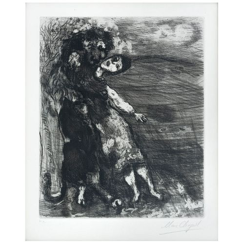 "MARC CHAGALL, Le Lion Amoureux, from the series Les Fables de La Fontaine, 1952, Plate signed in pencil, Etching H.C., 14.9 x 10.6"" (38 x 27 cm)"