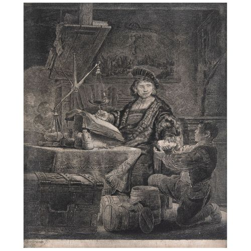 "REMBRANDT HARMENSZOON VAN RIJIN, The Gold Weigher, 1639, Plate signed and dated 1639, Etching and dry point, 9.4 x 7.8"" (24 x 20cm)"