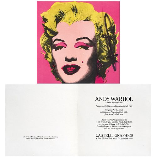 "ANDY WARHOL, Castelli invitation, 1981, Signed on image with marker, Offset lithography without print number, 6.6 x 6.6"" (17 x 17 cm)"