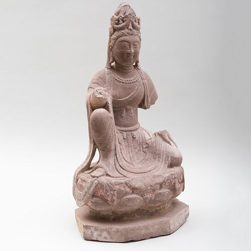 Chinese Carved Sandstone Enthroned Bodhisattva