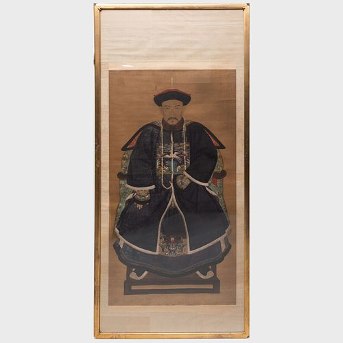 Large Chinese Ancestor Portrait of a Seated Official
