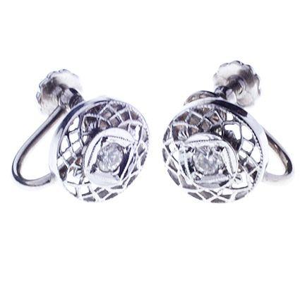 Lady's  Diamond 14 kt White Gold Filigree Earrings