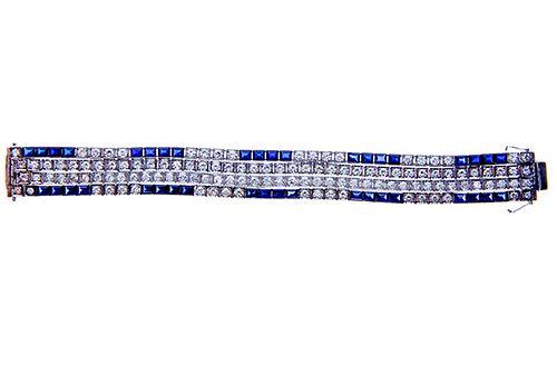Lady's 10 Carat Diamond 10  /Sapphire Bracelet
