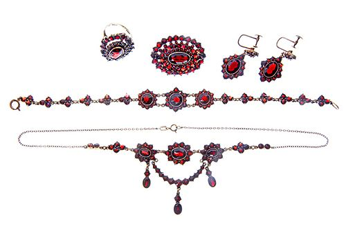 Lady's Five Piece Garnet Set
