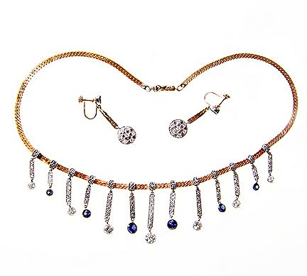 Lady's  Diamond 14 kt Yellow and White Gold and Sapphire Necklace and Earrings