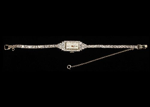 Lady's Nastrix 14k White Gold and Diamond Wrist Watch