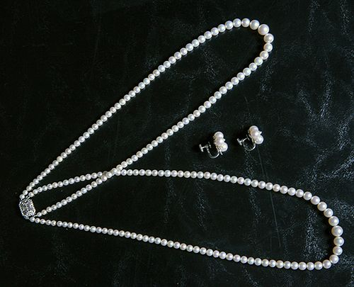 Lady's Pearl Necklace and Earrings