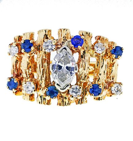 Lady's 14 kt Diamond and Sapphire Ring