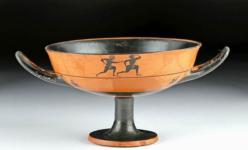 Greek Attic Black-Figure Kylix w/ Athletes -TL Tested
