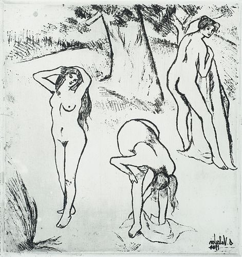 """Suzanne Valadon (Fr. 1865-1938)     -  """"Bathers"""" 1904   -   Etching and aquatint on BFK Rives paper, framed under glass"""