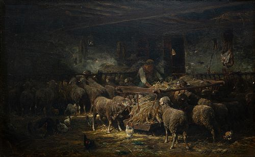 Charles Emile Jacque (Fr. 1813-1894)     -  Feeding the Sheep, 1848   -   Oil on canvas