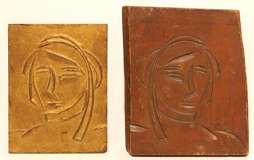 Walt Kuhn (Am. 1877-1949)     -  Figure Study   -   Gilt cast bronze plaque and original carved wood negative