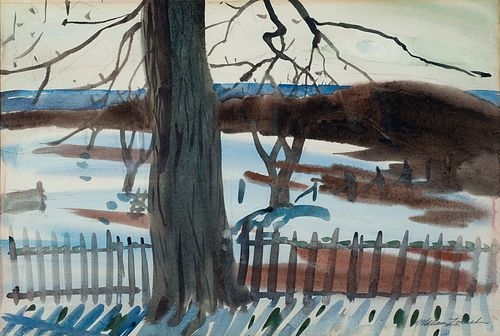 William Zorach (Am. 1887-1966)     -  Winter on the Coast   -   Watercolor on paper, framed under glass