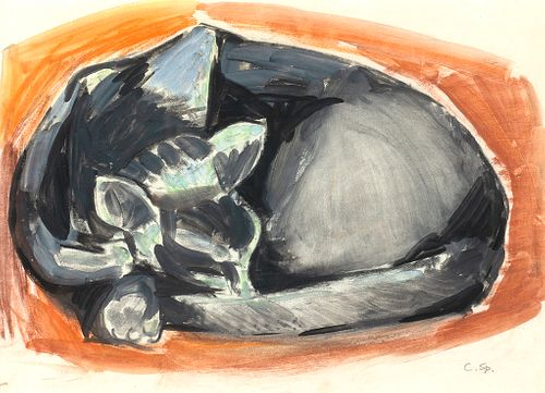 Carl Sprinchorn (Am. 1887-1971)     -  Sleeping Cat, c. 1955   -   Gouache and charcoal on paper