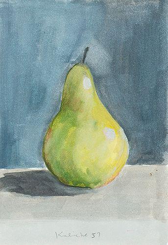 Robert Kulicke (Am. 1924-2007)     -  Green Pear Still Life, 1957   -   Watercolor on paper, framed under glass