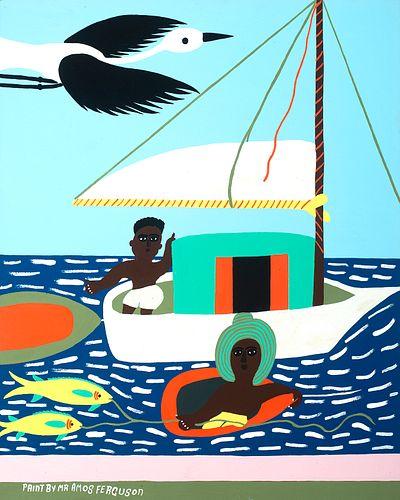 Amos Ferguson (Bahamian 1920-2009)     -  Man in Sailboat, Woman Fishing   -   Enamel on cardboard laid to foamcore, framed