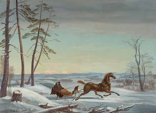 Charles E. Beckett (Am. 1814-1856)     -  Winter Sleigh Ride with Mountains in Background, 1856   -   Oil on canvas